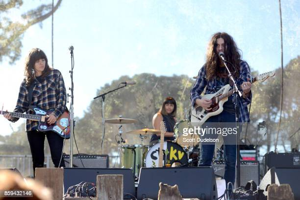 Musicians Courtney Barnett Janet Weiss and Kurt Vile perform onstage during Hardly Strictly Bluegrass festival at Golden Gate Park on October 8 2017...