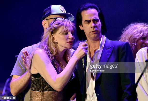 Musicians Courtney Love and Nick Cave perform onstage during The David Lynch Foundation's DLF Live Celebration of the 60th Anniversary of Allen...