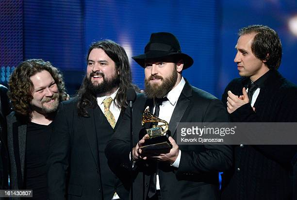 "Musicians Coy Bowles, Clay Cook, Zac Brown and Jimmy Martini of Zac Brown Band accept Best Country Album award for ""Uncaged"" onstage at the 55th..."