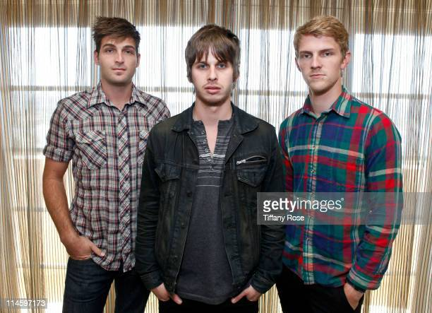 Musicians Cubbie Fink Mark Foster and Mark Pontius of Foster The People visit YoungHollywoodcom at the Young Hollywood Studio on May 24 2011 in Los...