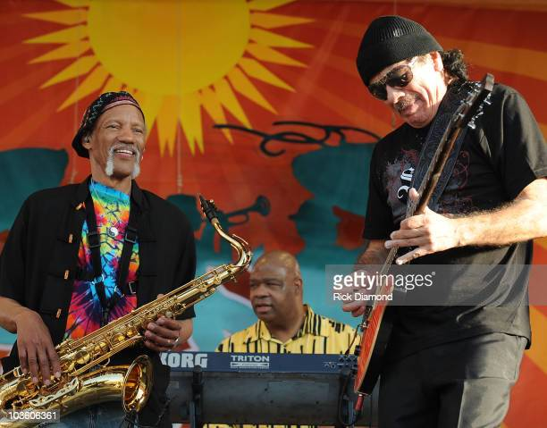 Musicians Cyril Neville, AaRon Neville, Charles Neville, Art Neville, The Neville Brothers are joined by Musician Carlos Santana on day 7 of the 39th...