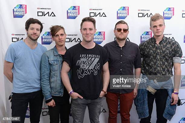 Musicians Dabney Morris Jeremy Bullock Keegan DeWitt Eric Wilson and Harry West of Wild Cub attend the 2014 mtvU Woodie Awards and Festival on March...