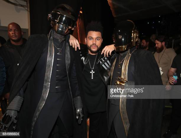 Musicians Daft Punk and The Weeknd attend The 59th GRAMMY Awards at STAPLES Center on February 12 2017 in Los Angeles California