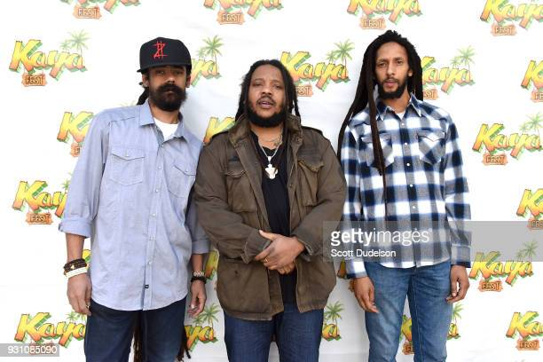 Musicians Damian Marley Stephen Marley and Julian Marley attend the press conference for the upcoming KAYA FEST at Sunset Marquis Hotel Villas on...