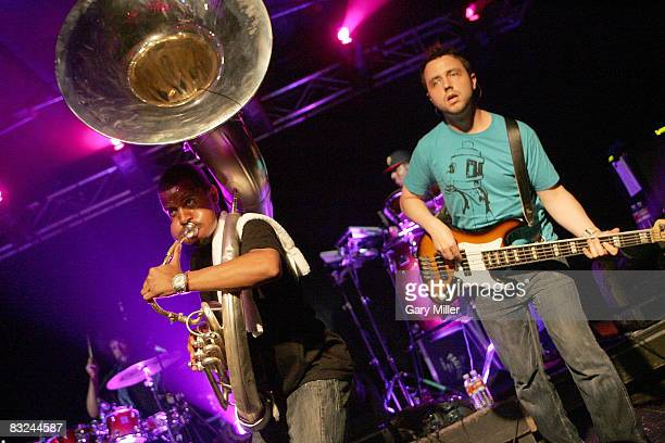 Musicians Damon Tuba Gooding Jr Bryson and bass player Owen Biddle perform in concert with The Roots at La Zona Rosa on October 12 2008 in Austin...