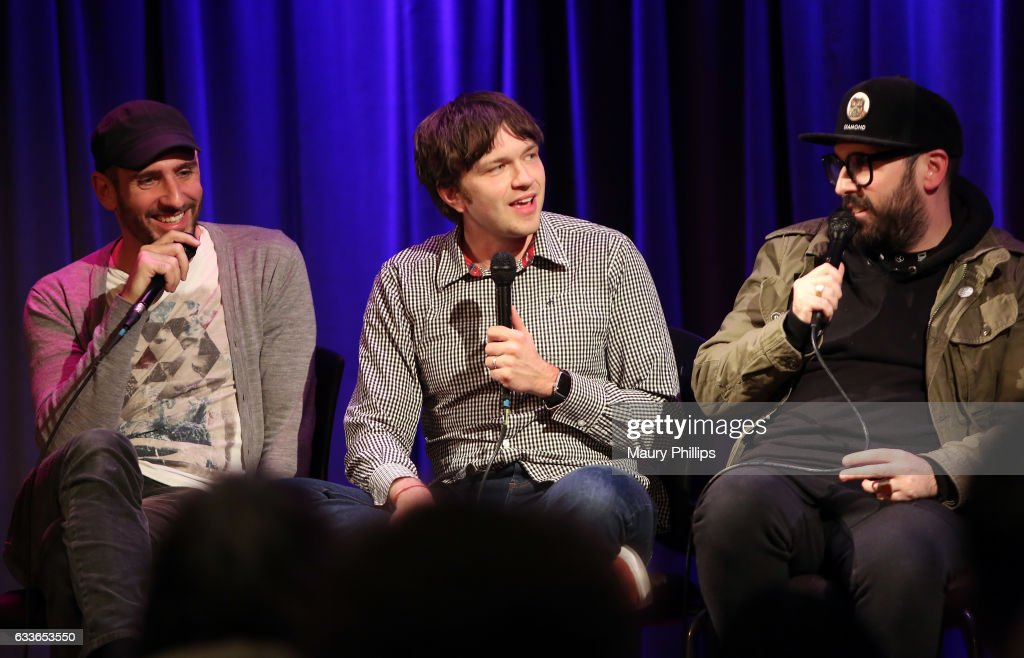 Musicians Dan Konopka, Andy Ross and Tim Nordwind speak onstage during Upside Down Inside Out a special sceening and Q&A with OK Go at The GRAMMY Museum on February 2, 2017 in Los Angeles, California.