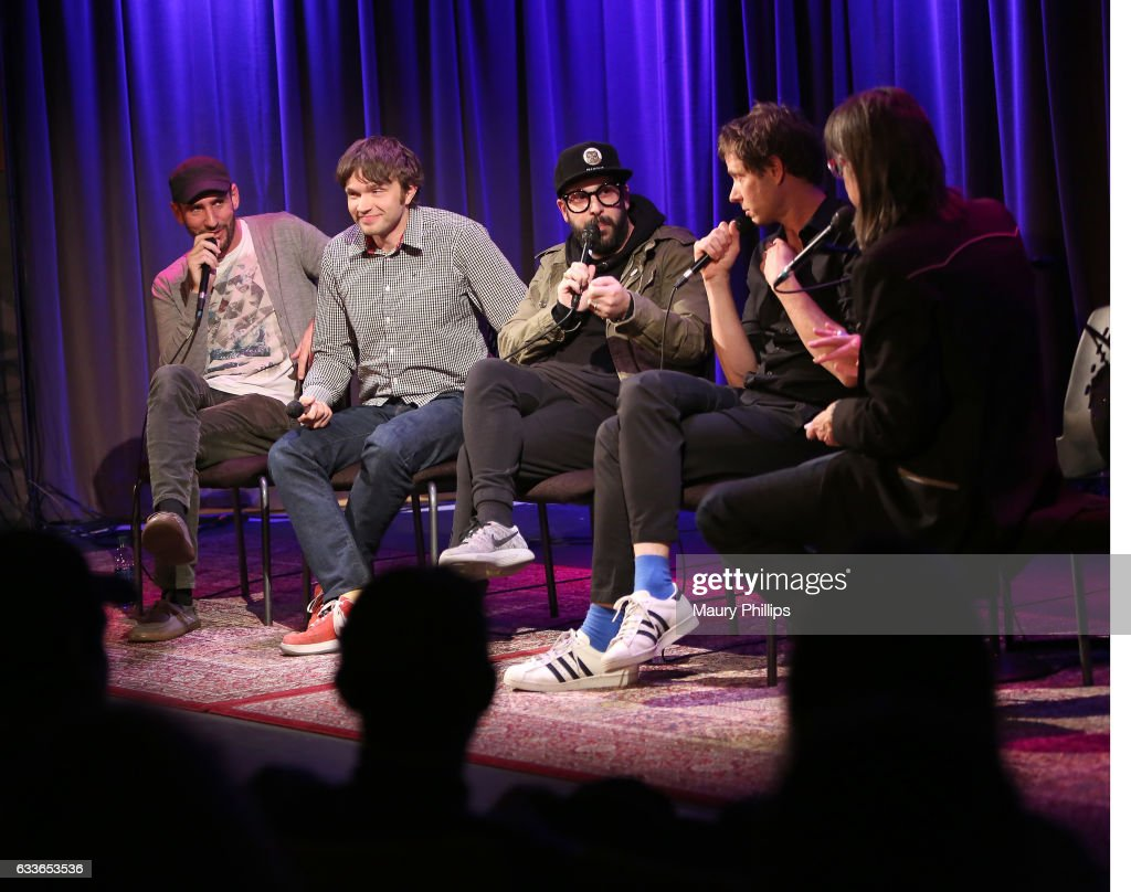 Musicians Dan Konopka, Andy Ross, Tim Nordwind, Damian Kulash and Vice President of the GRAMMY Foundation Scott Goldman speak onstage during Upside Down Inside Out a special sceening and Q&A with OK Go at The GRAMMY Museum on February 2, 2017 in Los Angeles, California.