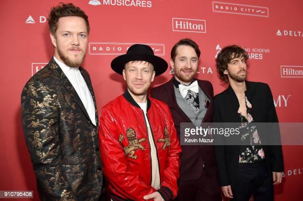 Musicians Dan Reynolds Ben McKee Daniel Platzman and Wayne Sermon of Imagine Dragons attend MusiCares Person of the Year honoring Fleetwood Mac at...