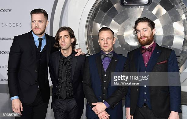 Musicians Dan Reynolds Daniel Wayne Sermon Ben McKee and Daniel Platzman of Imagine Dragons attend the premiere of Columbia Pictures' 'Passengers' at...