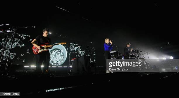 Musicians Dan Rothman, Hannah Reid and Dot Major of London Grammar perform at Spark Arena on September 30, 2017 in Auckland, New Zealand.