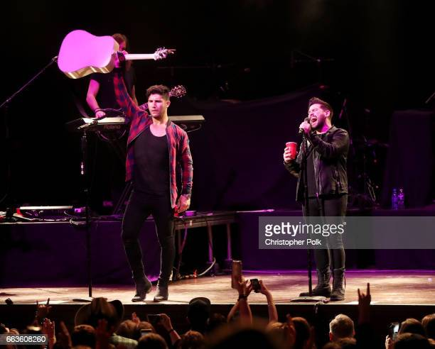 Musicians Dan Smyers and Shay Mooney of Dan Shay perform onstage at the ACM Party For A Cause House Of Blues on April 1 2017 in Las Vegas Nevada