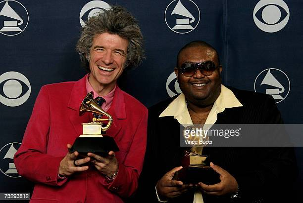 Musicians Dan Zanes and Father Goose poses with their Grammy for Best Musical Album for Children for 'Catch That Train' in the press room at the 49th...