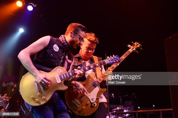 Musicians Daniel Alvarez and Juan Galeano of Diamante Electrico perform at the Sonora tent during day 1 of the Coachella Valley Music And Arts...