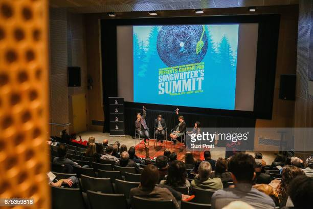 Musicians Daniel Pak Andrew Joslyn Sarah Shannon and Astra Elane speak at the GRAMMYPro Songwriter's Summit at Museum of Pop Culture on April 30 2017...