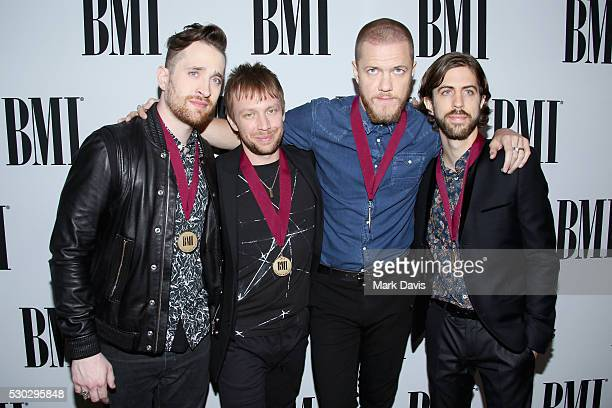 Musicians Daniel Platzman Ben McKee Dan Reynolds and Daniel Wayne Sermon of Imagine Dragons attend the 64th Annual BMI Pop Awards held at the Beverly...