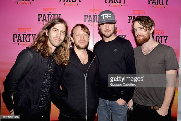 Musicians Daniel Wayne Sermon Ben McKee Dan Reynolds and Dan Platzman of Imagine Dragons attend ESPN the Party at WestWorld of Scottsdale on January...