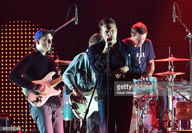 Musicians Dann Gallucci Matt Maust Nathan Willett and Joe Plummer of Cold War Kids perform onstage during 1067 KROQ Almost Acoustic Christmas 2015 at...