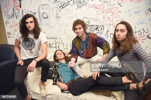 Musicians Danny Wagner Sam Kiszka Josh Kiszka and Jake Kiszka of the rock band Greta Van Fleet visit Music Choice on July 12 2018 in New York City
