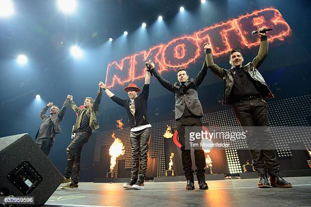 Musicians Danny Wood Joey McIntyre Donnie Wahlberg Jordan Knight and Jonathan Knight of New Kids on the Block perform on stage during the iHeart80s...