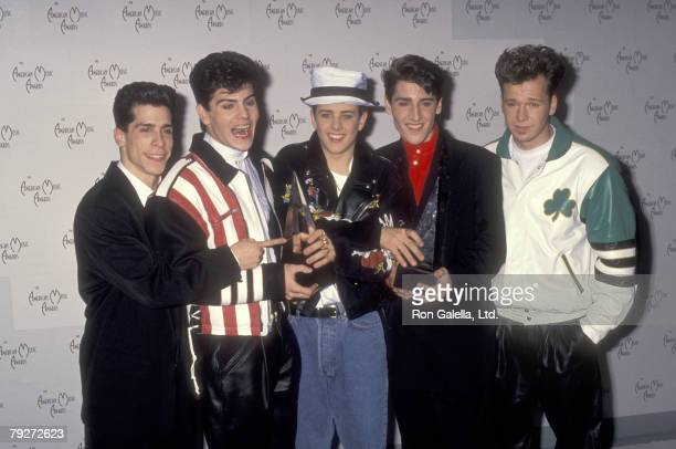 Musicians Danny Wood Jordan Knight Joey McIntyre Jonathan Knight and Donnie Wahlberg attend the 17th Annual American Music Awards on January 22 1990...