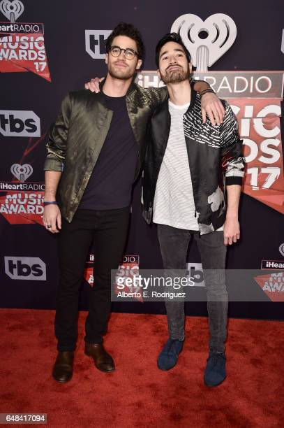 Musicians Darren Criss and Chuck Criss of Computer Games attend the 2017 iHeartRadio Music Awards which broadcast live on Turner's TBS TNT and truTV...