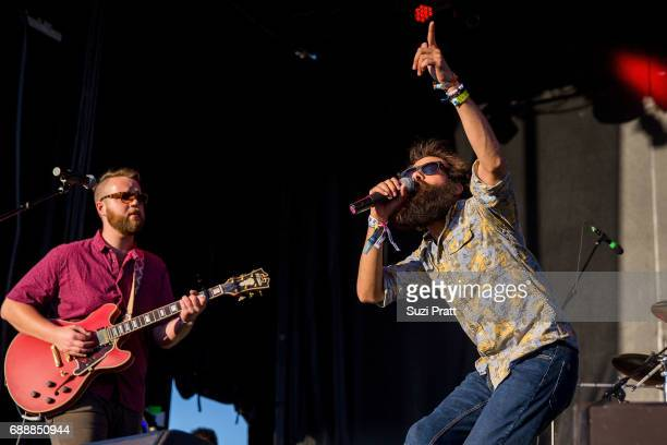 Musicians Darrick 'Bozzy' Keller and Sam Melo of Rainbow Kitten Surprise perform at the Sasquatch Music Festival at Gorge Amphitheatre on May 26 2017...