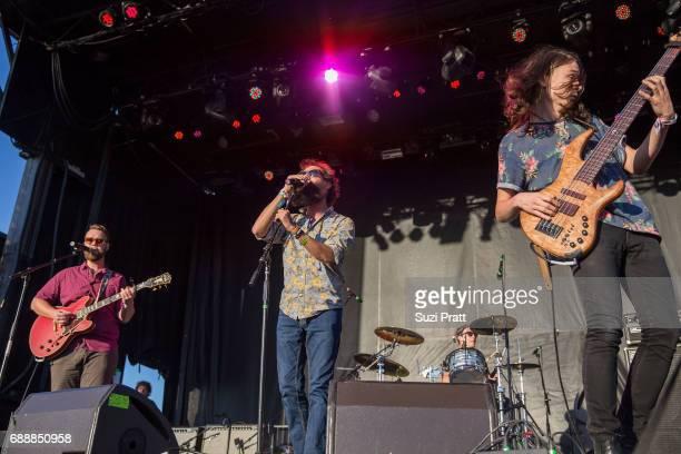 Musicians Darrick 'Bozzy' Keller Sam Melo Charlie Holt of Rainbow Kitten Surprise perform at the Sasquatch Music Festival at Gorge Amphitheatre on...