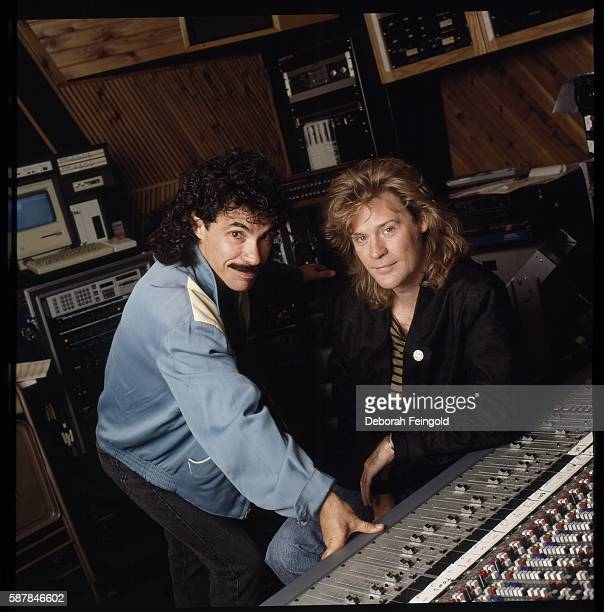 Musicians Daryl Hall and John Oates from band Hall and Oates in a recording studio in September 1987 in New York City New York