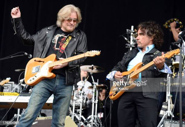 Musicians Daryl Hall and John Oates of Hall Oates perform at the Lands End Stage during day 3 of the 2013 Outside Lands Music and Arts Festival at...