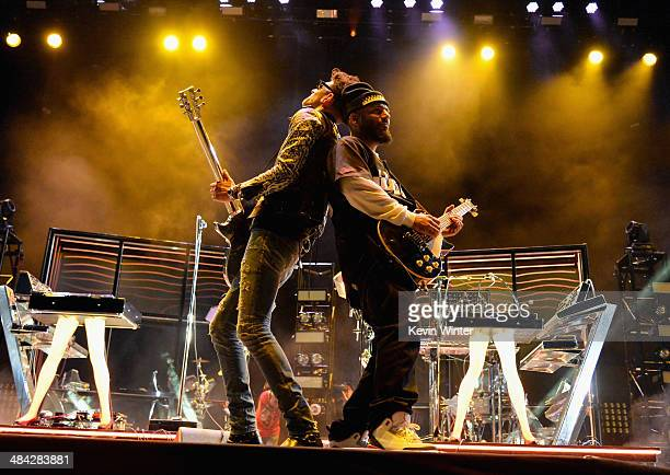 Musicians Dave 1 and PThugg of Chromeo perform onstage during day 1 of the 2014 Coachella Valley Music Arts Festival at the Empire Polo Club on April...