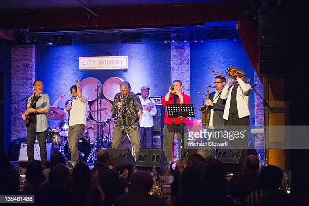 Musicians Dave Gellis Jason Paige Steve Jankowski Jerry Sokolov Ken Gioffre and Jens Wendelboe of Blood Sweat Tears perform at the City Winery on...