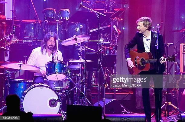 Musicians Dave Grohl and Beck perform onstage during the 2016 PreGRAMMY Gala and Salute to Industry Icons honoring Irving Azoff at The Beverly Hilton...