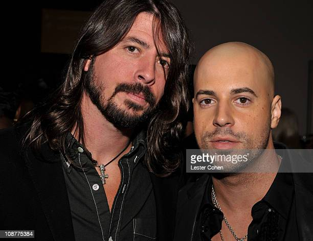 Musicians Dave Grohl and Chris Daughtry attend the 2008 Clive Davis PreGRAMMY party at the Beverly Hilton Hotel on February 9 2008 in Los Angeles...
