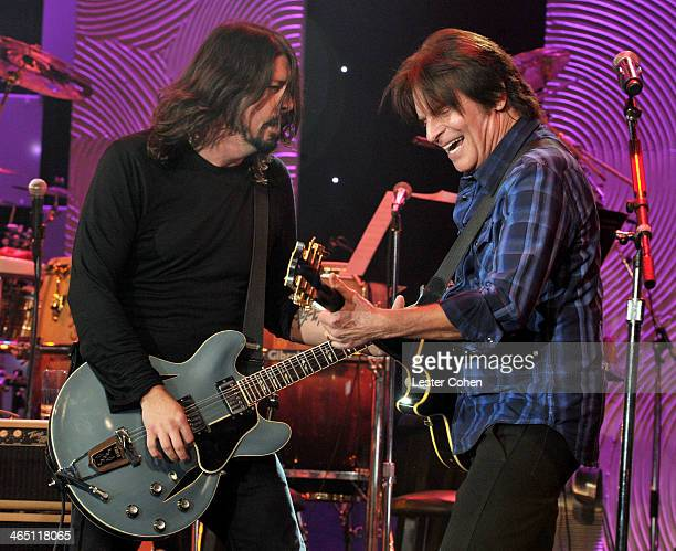 Musicians Dave Grohl and John Fogerty perform onstage during the 56th annual GRAMMY Awards PreGRAMMY Gala and Salute to Industry Icons honoring...