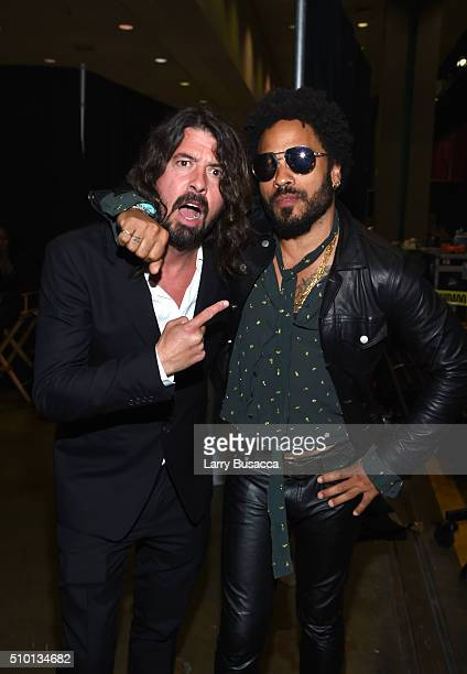 Musicians Dave Grohl and Lenny Kravitz attend the 2016 MusiCares Person of the Year honoring Lionel Richie at the Los Angeles Convention Center on...