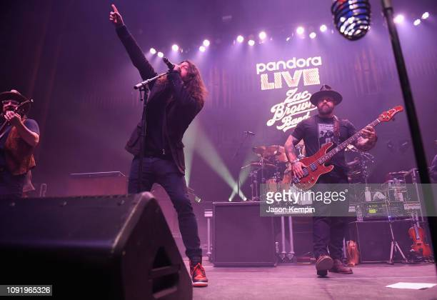 Musicians Dave Grohl and Zac Brown perform onstage during the Pandora Live Zac Brown Band at Bud Light Dive Bar at The Tabernacle on January 31 2019...