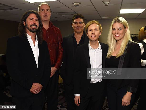 Musicians Dave Grohl Krist Novoselic Pat Smear Beck and guest attend the 2016 PreGRAMMY Gala and Salute to Industry Icons honoring Irving Azoff at...