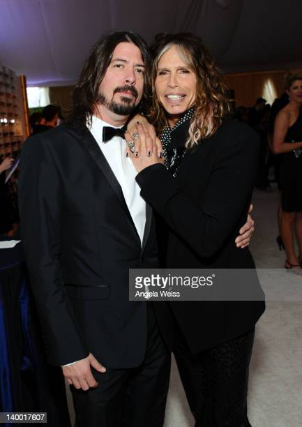 Musicians Dave Grohl of Foo Fighters and Steven Tyler attend CIROC Vodka at 20th Annual Elton John AIDS Foundation Academy Awards Viewing Party at...