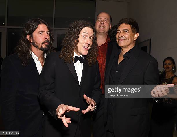 Musicians Dave Grohl 'Weird Al' Yankovic Krist Novoselic and Pat Smear attend the 2016 PreGRAMMY Gala and Salute to Industry Icons honoring Irving...