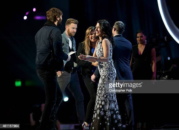 Musicians Dave Haywood Charles Kelley and Hilary Scott of Lady Antebellum and actress Lisa Edelstein onstage during The 41st Annual People's Choice...