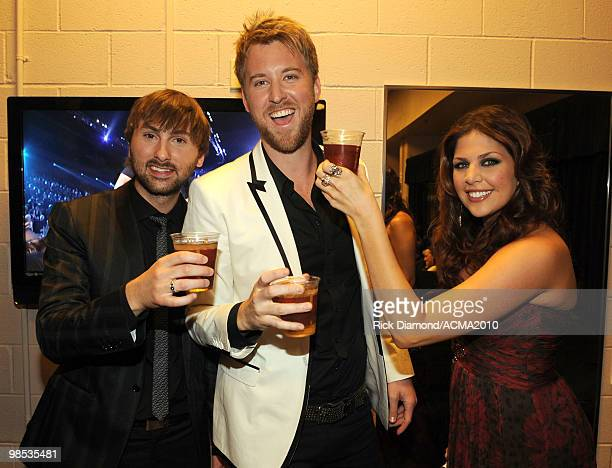 Musicians Dave Haywood Charles Kelley and Hillary Scott of Lady Antebellum backstage at the 45th Annual Academy of Country Music Awards at the MGM...