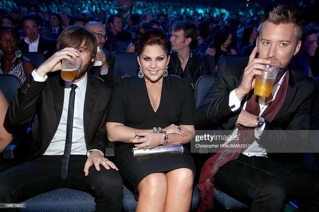 Musicians Dave Haywood, Hillary Scott, and Charles Kelley of Lady Antebellum at the 40th American Music Awards held at Nokia Theatre L.A. Live on November 18, 2012 in Los Angeles, California.