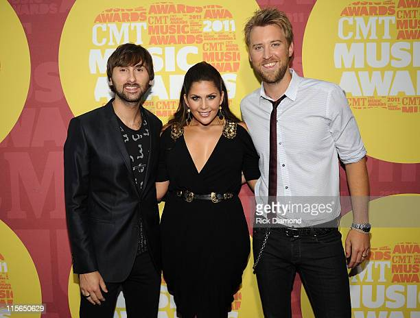 Musicians Dave Haywood Hillary Scott and Charles Kelley of Lady Antebellum attend the 2011 CMT Music Awards at the Bridgestone Arena on June 8 2011...