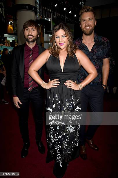 Musicians Dave Haywood Hillary Scott and Charles Kelley of Lady Antebellum attends the 2015 CMT Music awards at the Bridgestone Arena on June 10 2015...
