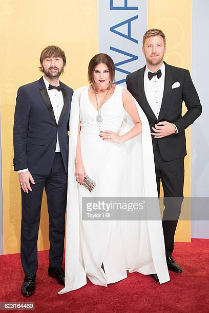Musicians Dave Haywood Hillary Scott and Charles Kelley of Lady Antebellum attend the 50th annual CMA Awards at the Bridgestone Arena on November 2...