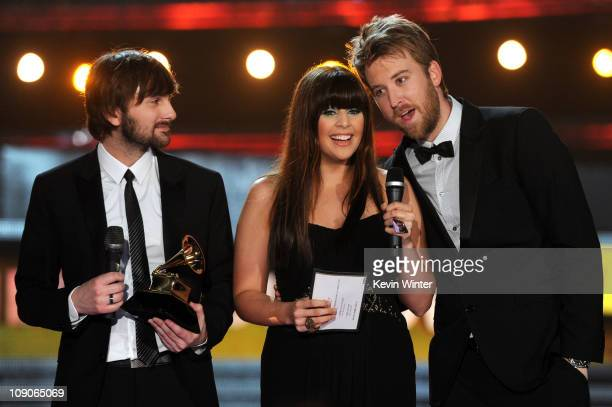 Musicians Dave Haywood Hillary Scott and Charles Kelleyof Lady Antebellum accept an award onstage during The 53rd Annual GRAMMY Awards held at...
