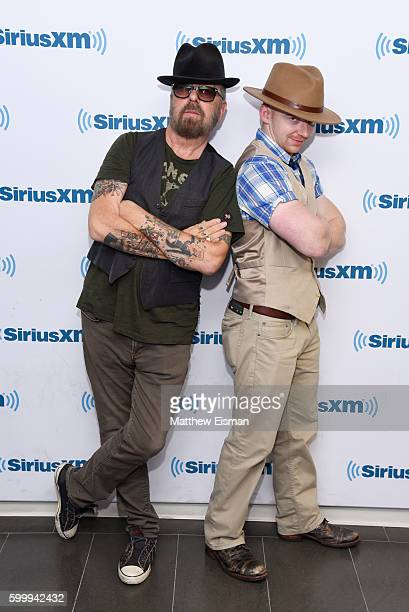 Musicians Dave Stewart of the band Eurythmics and Thomas Lindsey visit SiriusXM Studio on September 7 2016 in New York City