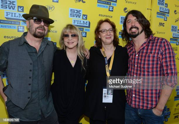 Musicians Dave Stewart Stevie Nicks Janet Pierson Producer SXSW and Dave Grohl arrive at the screening of 'In Your DreamsStevie Nicks' during the...