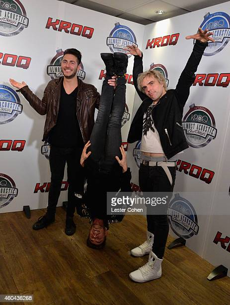 Musicians David Boyd, Louis Vecchio and Soren Hansen of New Politics attend day one of the 25th annual KROQ Almost Acoustic Christmas at The Forum on...