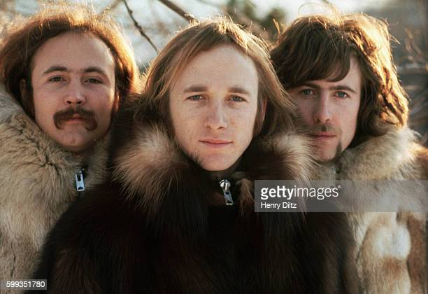 Musicians David Crosby Stephen Stills and Graham Nash wearing fur parkas The group Crosby Stills and Nash were formed in the late sixties from...